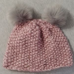 Accessories - Pink and Grey Panda Ear Beanie